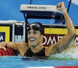 ** FILE ** In this July 5, 2008 file photo, swimmer Dara Torres celebrates setting a US record time of 24.38 in the women's 50-meter freestyle semifinal at the US Olympic swimming trials in Omaha, Neb.. At 41, Torres is heading for her fifth Olympics, a remarkable feat that has left armchair athletes doing a double-take. But exercise experts say Torres' achievements at least partly reflect advances in training _ and that many of us could come closer than we think. (AP Photo/Mark J. Terrill, file)